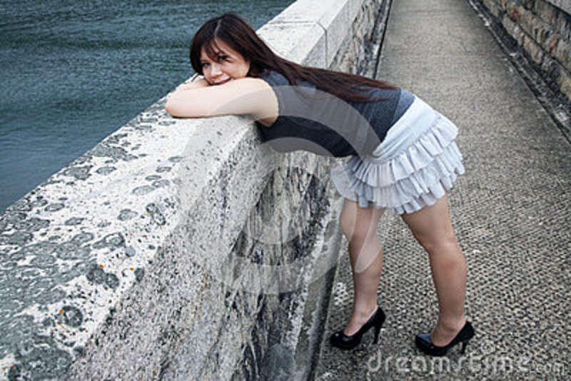 Chinese girl bent over